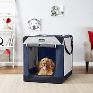 EliteField 4-Door Folding Soft-Sided Dog Crate with Curtains, Navy Blue & Gray, 42-in