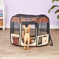 EliteField 2-Door Soft-Sided Dog & Cat Playpen, Brown & Beige, 30-in
