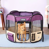 EliteField 2-Door Soft-Sided Dog & Cat Playpen, Purple & Beige, 30-in