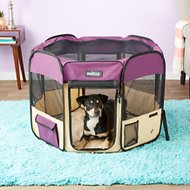 EliteField 2-Door Soft-Sided Dog & Cat Playpen, Purple & Beige, 36-in
