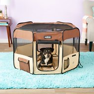 EliteField 2-Door Soft-Sided Dog & Cat Playpen, 42-inch, Brown & Beige