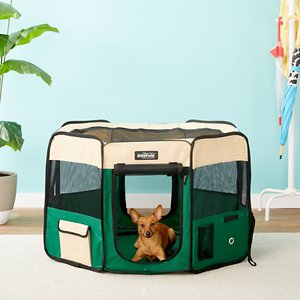 EliteField 2-Door Soft-Sided Dog & Cat Playpen, Beige & Green, 42-in; Keep your pet safe and sound with EliteField's 2-Door Soft-Sided Dog & Cat Playpen! This sturdy soft-sided playpen is the perfect enclosure for your furry friend. Two zippered doors give your pet multiple ways to enter and exit their play area while also providing the visibility and ventilation needed to keep them comfortable. Made with solid and easy to clean fabric, you can count on EliteField products to last. Plus, this product includes free ground stakes and a handy carrying bag which is perfect for outdoor adventures such as fishing and camping.