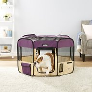 EliteField 2-Door Soft-Sided Dog & Cat Playpen, Purple & Beige, 42-in