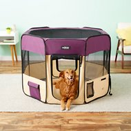 EliteField 2-Door Soft-Sided Dog & Cat Playpen, Purple & Beige, 48-in