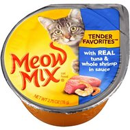 Meow Mix Tender Favorites with Real Tuna & Whole Shrimp in Sauce Cat Food Trays, 2.75-oz, case of 12