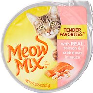 Meow Mix Tender Favorites with Real Salmon & Crab Meat in Sauce Cat Food Trays