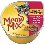 Meow Mix Tender Favorites with Real Chicken & Beef in Sauce Cat Food Trays, 2.75-oz, case of 12