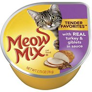 Meow Mix Tender Favorites with Real Turkey & Giblets in Sauce Cat Food Trays, 2.75-oz, case of 12