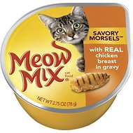Meow Mix Savory Morsels with Real Chicken Breast in Gravy Cat Food Trays, 2.75-oz, case of 12