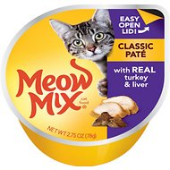 Meow Mix Classic Pate with Real Turkey & Liver Cat Food Trays, 2.75-oz, case of 12