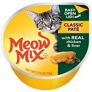 Meow Mix Classic Pate with Real Chicken & Liver Cat Food Trays, 2.75-oz, case of 12