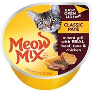 Meow Mix Classic Pate Mixed Grill with Real Beef, Tuna & Chicken Cat Food Trays, 2.75-oz, case of 12 (new)