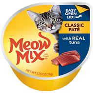 Meow Mix Classic Pate with Real Tuna Cat Food Trays, 2.75-oz, case of 12