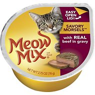 Meow Mix Savory Morsels with Real Beef in Gravy Cat Food Trays, 2.75-oz, case of 12