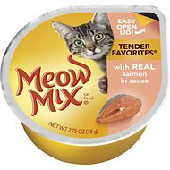 Meow Mix Tender Favorites with Real Salmon in Sauce Cat Food Trays, 2.75-oz, case of 12