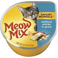 Meow Mix Savory Morsels Seafood Entree in Gravy Cat Food Trays, 2.75-oz, case of 12