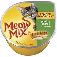 Meow Mix Tender Favorites Poultry Entrée in Sauce Cat Food Trays, 2.75-oz, case of 12