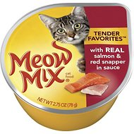 Meow Mix Tender Favorites with Real Salmon & Red Snapper in Sauce Cat Food Trays, 2.75-oz, case of 12