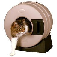 Litter Spinner Cat Litter Box for Small Cats up to 10 lbs, Tan