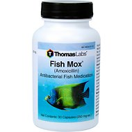 Thomas Labs Fish Mox Amoxicillin Antibacterial Fish Medication, 250 mg, 30-count
