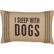 "Primitives By Kathy ""I Sleep With Dogs"" Pillow, Stripes"