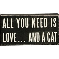 "Primitives By Kathy ""All You Need Is Love... And A Cat"" Box Sign"