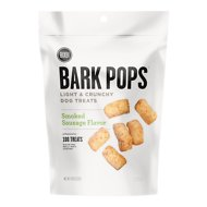 BIXBI Bark Pops Smoked Sausage Flavor Light & Crunchy Dog Treats, 4-oz bag