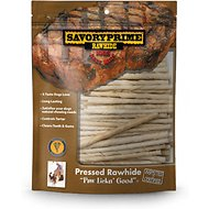 Savory Prime White Rawhide Twists Dog Treats, 5-inch, 100 count
