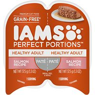 Iams Perfect Portions Healthy Adult Salmon Recipe Pate Grain-Free Cat Food Trays, 2.6-oz, case of 24 twin-packs