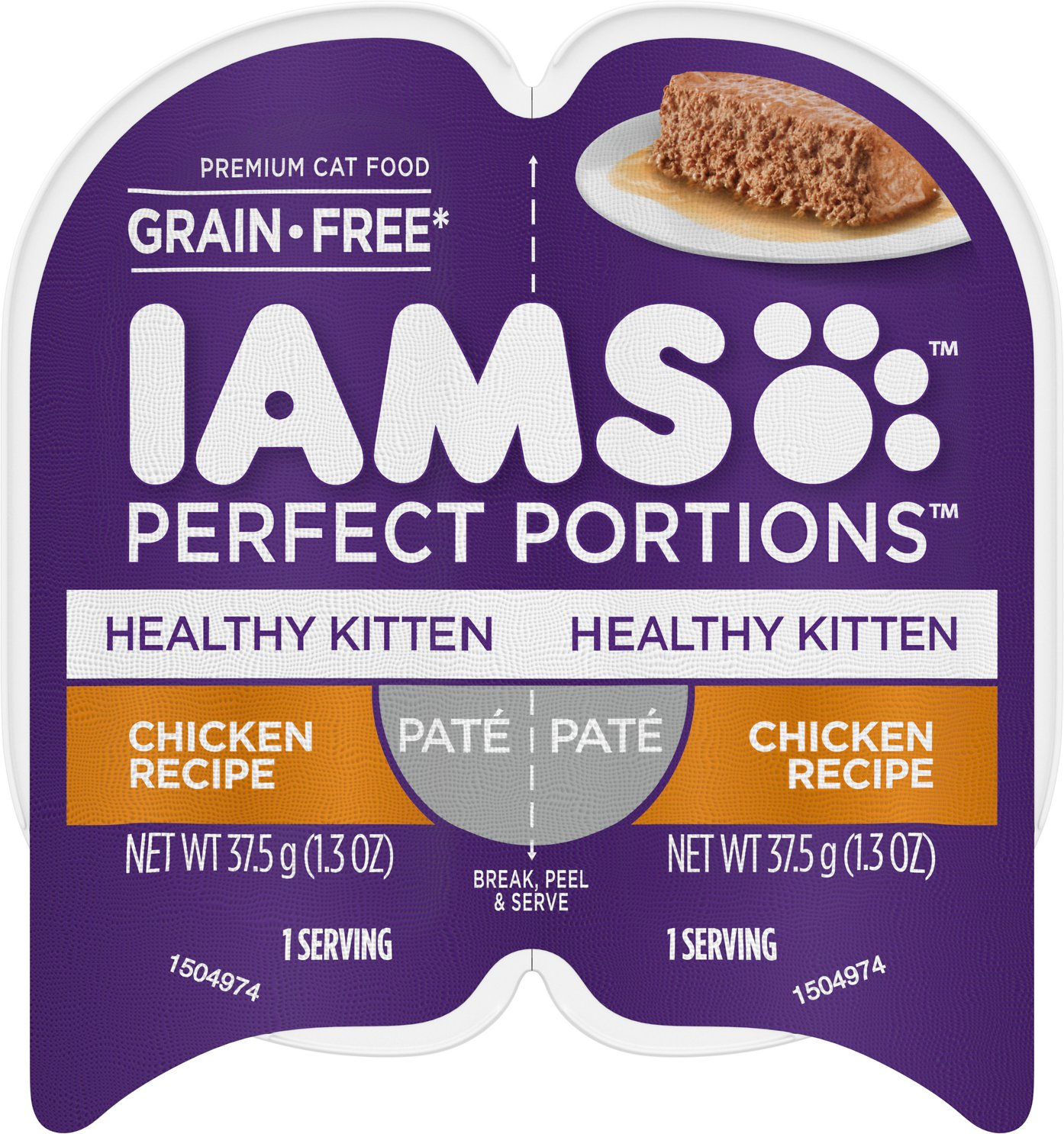 Iams Perfect Portions Healthy Kitten Chicken Recipe Pate Grain Free Cat Food Trays 2 6 Oz Case Of 24 Twin Packs Chewy Com