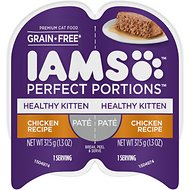 Iams Perfect Portions Healthy Kitten Chicken Recipe Pate Grain-Free Cat Food Trays, 2.6-oz, case of 24 twin-packs