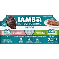 Iams Perfect Portions Indoor Multipack Salmon &Turkey Recipe Pate Grain-Free Cat Food Trays, 2.6-oz, case of 12 twin-packs