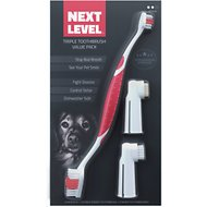 Next Level Pet Premium Triple Toothbrush Value Pack for Dogs & Cats