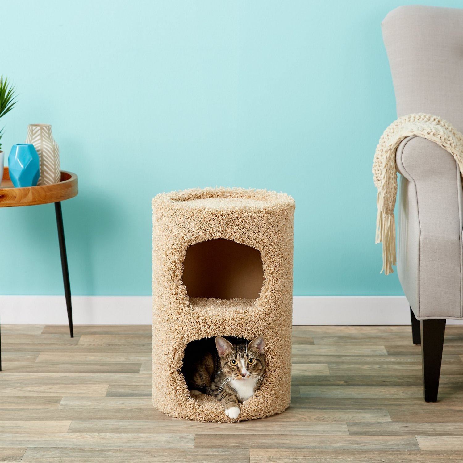 Flexrake Carpeted Two Story Cat Condo Chewy Com