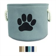 Bone Dry Paw Print Dog & Cat Collapsible Storage Bin, Gray, Medium