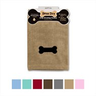 Bone Dry Embroidered Bone Microfiber Dog Bath Towel, Taupe
