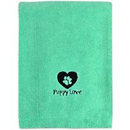 Bone Dry Embroidered Puppy Love Microfiber Dog Bath Towel, Aqua