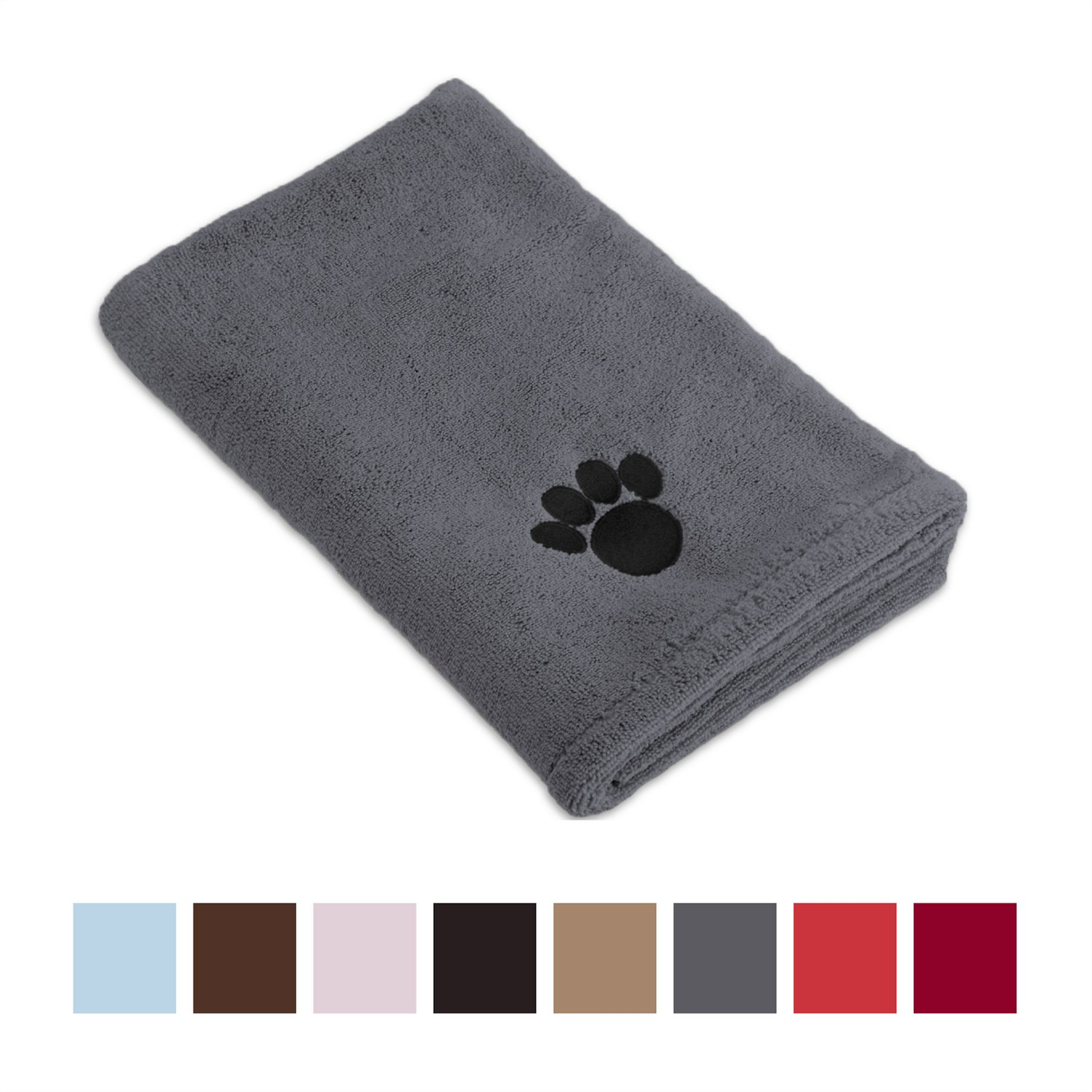 Bone Dry Embroidered Paw Print Microfiber Bath Towel Gray Chewycom