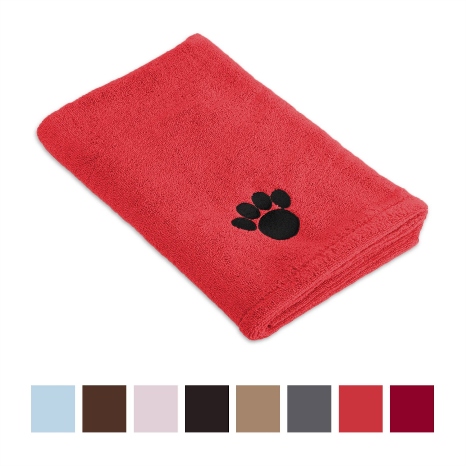 Red Microfiber Bath Towels: Bone Dry Embroidered Paw Print Microfiber Bath Towel, Red