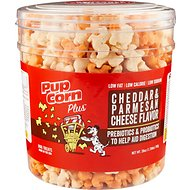 PupCorn Plus Cheddar & Parmesan Flavored Dog Treats, 28-oz tub