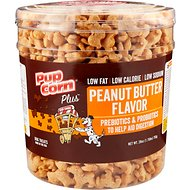 PupCorn Plus Peanut Butter Flavored Dog Treats, 28-oz tub