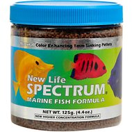New Life Spectrum Marine 1mm Sinking Pellet Fish Food, 4.4-oz jar
