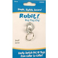 Rubit! Curved Dog Tag Clip, Silver, Small