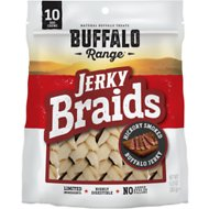 Buffalo Range All Natural Grain-Free Jerky Braid Rawhide Dog Treats, 10 count