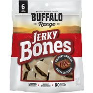 Buffalo Range All Natural Grain-Free Jerky Bone Rawhide Dog Treats, 6-count