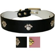 Sassy Dog Wear Leather Dog Collar, Large, Black
