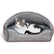 K&H Pet Products Amazin' Kitty Lounger Hooded Cat Bed, Gray