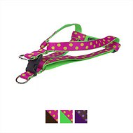 Sassy Dog Wear Dot Dog Harness, Large, Fuchsia & Green