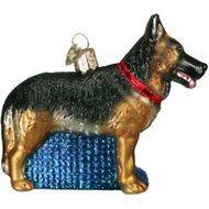 Old World Christmas German Shepherd Glass Tree Ornament, 4.5-inch