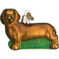 Old World Christmas Dachshund Glass Tree Ornament, 3.25-inch